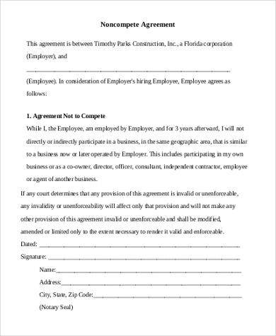 Sample NonCompete Agreement Form   Free Documents In Word Pdf