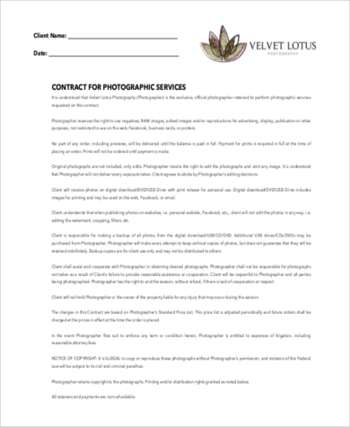 Free Printable Photography Contract