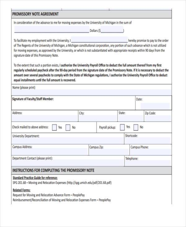 Sample Promissory Note Agreement Forms 8 Free Documents in Word