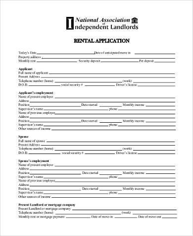 national association of independent landlords Standard Rental Application Samples - 9  Free Documents in Word, PDF
