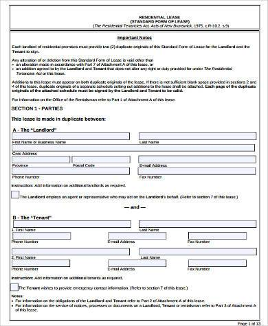 Free 8 Rental Lease Agreement Sample Forms In Word Pdf