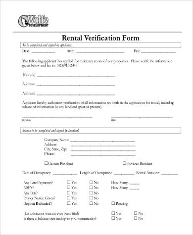 Rental Verification Form Samples - 9+ Free Documents In Word, Pdf