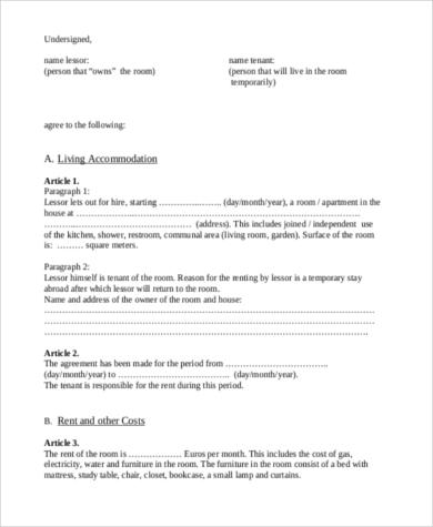 free renters contract form