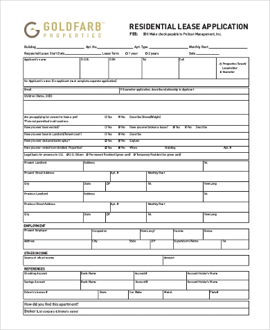 Free Residential Lease Application Form  Free Residential Lease