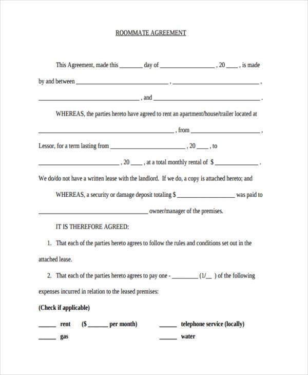 free roommate agreement in pdf