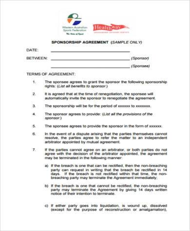 Sample Sponsorship Agreement Forms   Free Documents In Pdf