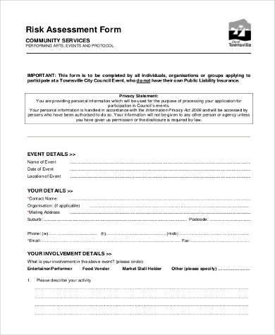 free standard risk assessment form