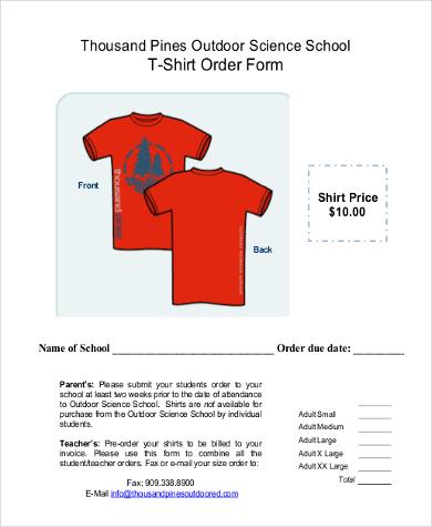 free t shirt order form