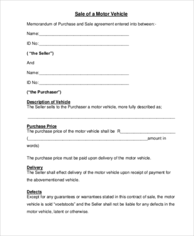 Vehicle Purchase Agreement - 8+ Free Documents in Word, PDF