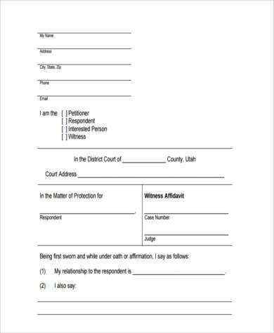 free witness affidavit form sample