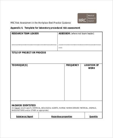 free workplace risk assessment form
