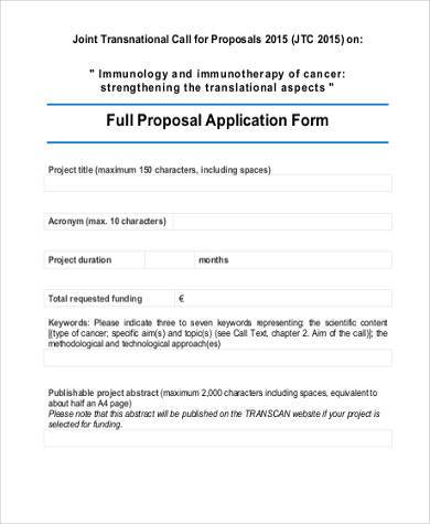 full proposal application form