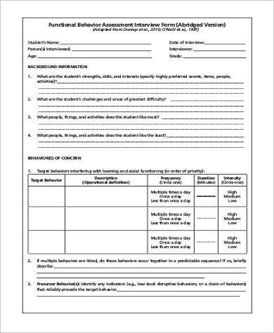 Functional Behavior Assessment Form   Free Documents In Word Pdf