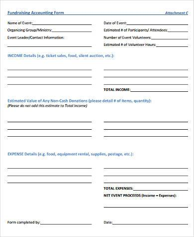 fundraiser accounting form