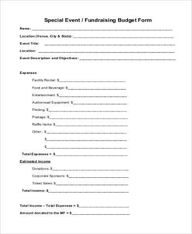 Fundraising Event Budget Form