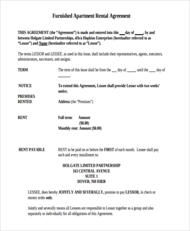 furnished apartment rental agreement