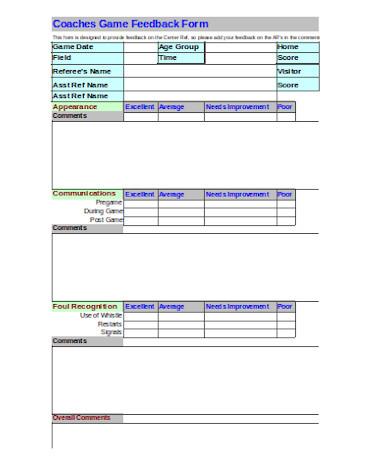 game coaches feedback form