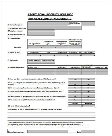 general accountants proposal form