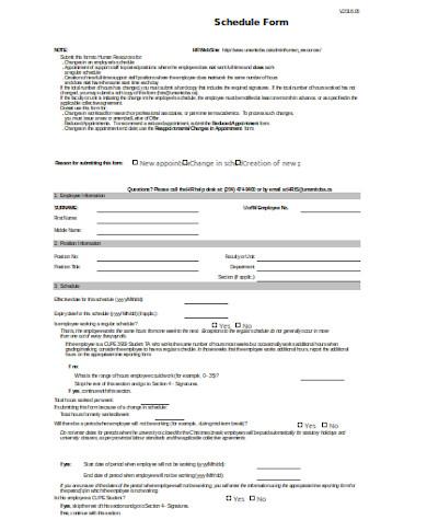 general blank schedule form