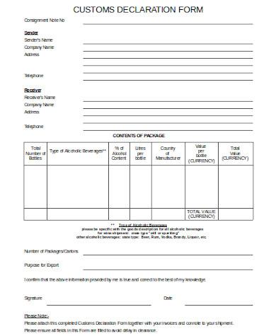 general custom declaration form