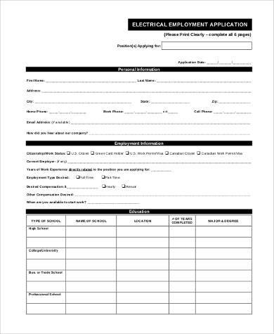 General Employment Application Samples  Free Documents In Pdf