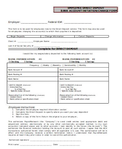 general employee direct deposit form