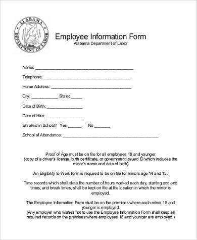 general employee information form