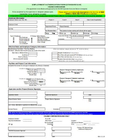 general employment authorization form