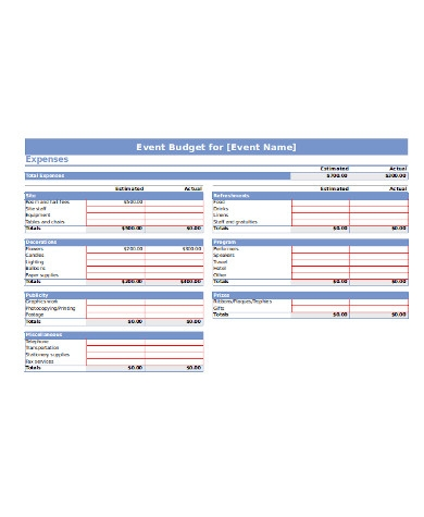 general event budget form