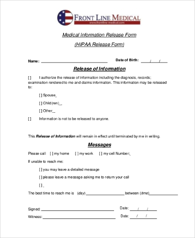 general hipaa release form example