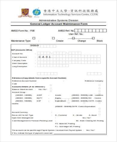 general ledger account maintenance form