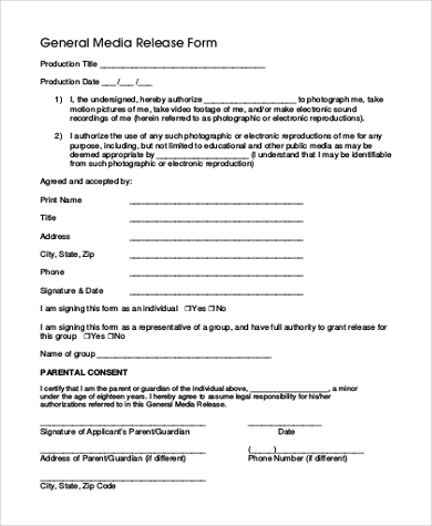 general media release form printable