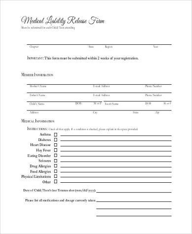 general medical liability release form