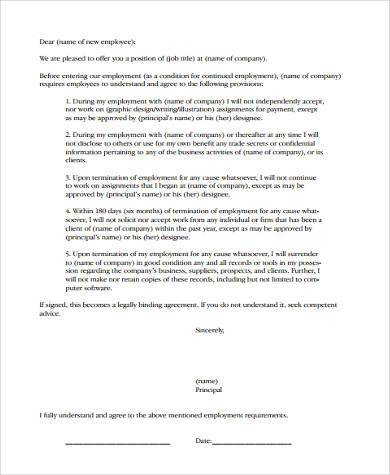 general non compete agreement form