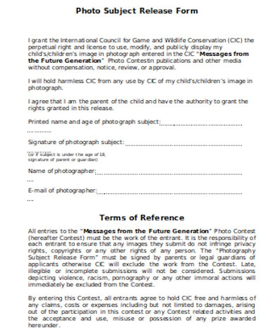 general photographer release form