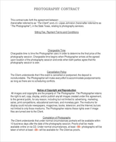 Photography Sample Contracts   Free Documents In Pdf