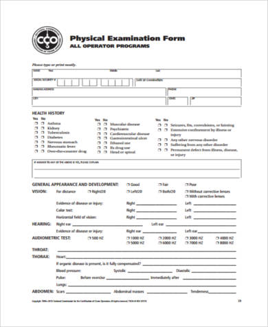 Sample Physical Exam Forms   Free Documents In Pdf