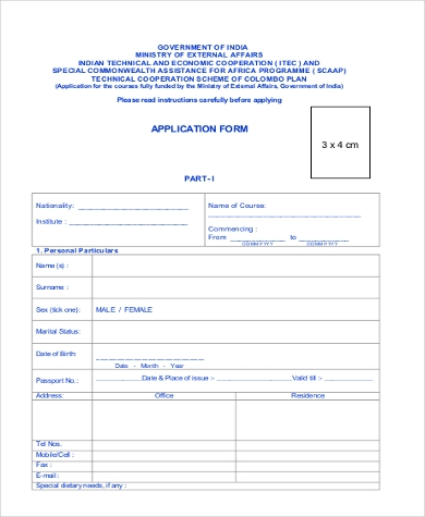 general printable application form