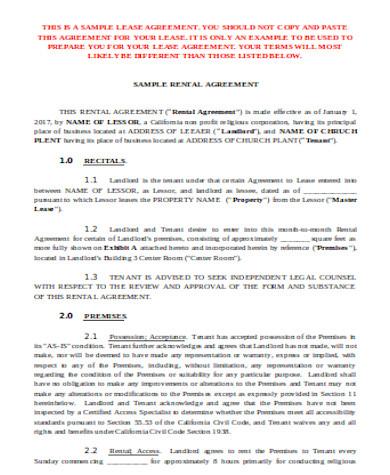 general room rental agreement form