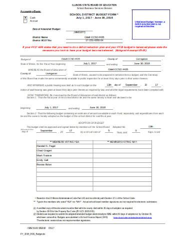 general school budget form
