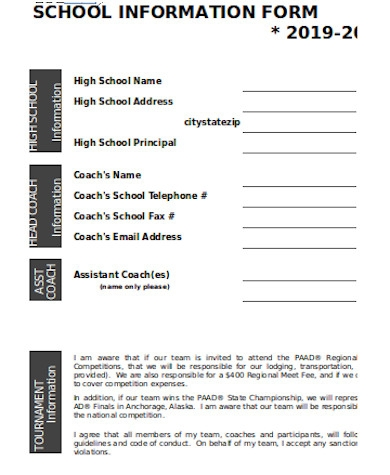 general school information form