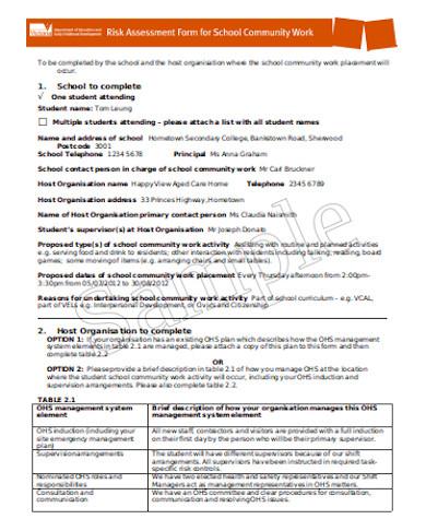 general school risk assessment form