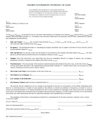 general sworn statement form