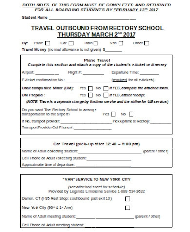 general travel document form