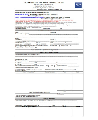 general travel insurance claim form