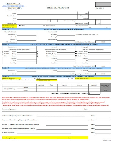 general travel request form