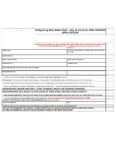 general vendor application form