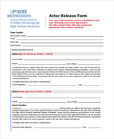 generic actor release form