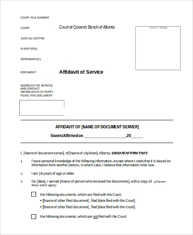 South Carolina Affidavit of Service Form