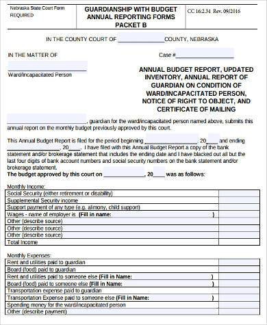 generic annual budget form